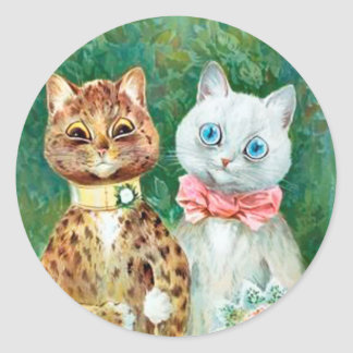 "Louis Wain Bride & Groom Cats ""A Happy Pair"" Classic Round Sticker"