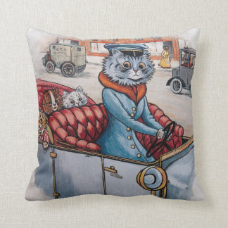 Louis Wain - Cat Chauffeur with Kittens Cushion