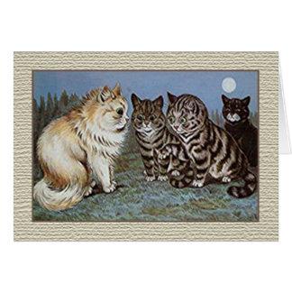 Louis Wain Cat Notecard, Moonlight Cats Card