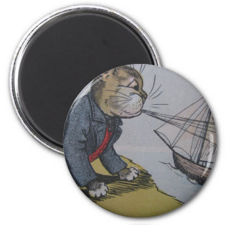 Louis Wain Cat with a Sailboat Artwork Magnet