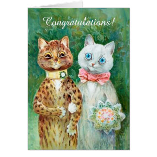 Louis Wain Cats Wedding Congratulations Card