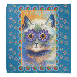 Louis Wain Hippie Flower Cat Bandana