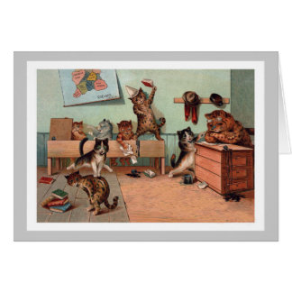 Louis Wain Kittens in the Classroom - Vintage Cats Card