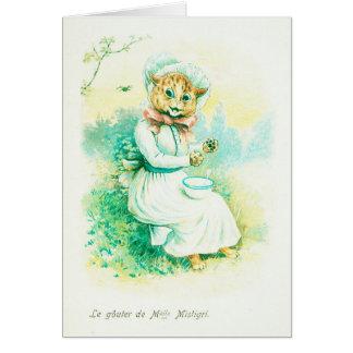 Louis Wain Little Miss Muffet Card