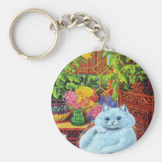 LOUIS WAIN - White Cat in Garden Study Key Ring