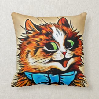 LOUIS WAIN'S CATS-Happy Tabby with Blue Bow Cushion