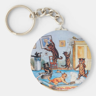 LOUIS WAIN'S FUNNY SPRING CLEANING CATS BASIC ROUND BUTTON KEY RING