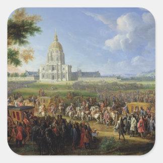 Louis XIV his Entourage Visiting Les Invalides Square Sticker