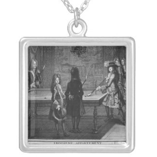 Louis XIV playing billiards with his brother Silver Plated Necklace
