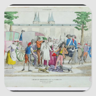 Louis XVI  and his family taken to the Temple Square Sticker