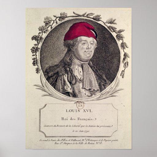 Louis XVI  wearing a phrygian bonnet Print