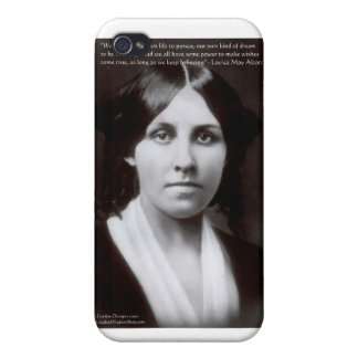 """Louisa May Alcott & """"Purpose/Dream"""" Quote Gifts iPhone 4/4S Covers"""