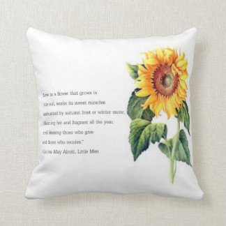 Louisa May Alcott quote w/ Vintage Sunflower Cushion