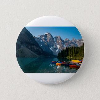 Louise lake in Banff national park Alberta, Canada 6 Cm Round Badge