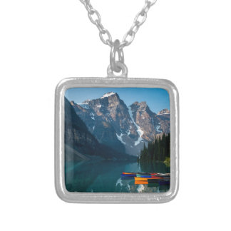 Louise lake in Banff national park Alberta, Canada Silver Plated Necklace