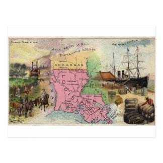 Louisiana, 1889 vintage card postcard
