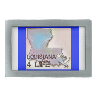 """Louisiana 4 Life"" State Map Pride Design Belt Buckles"