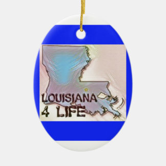 """Louisiana 4 Life"" State Map Pride Design Ceramic Ornament"