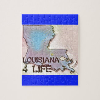 """Louisiana 4 Life"" State Map Pride Design Jigsaw Puzzle"