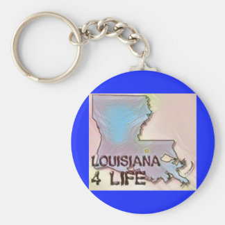 """Louisiana 4 Life"" State Map Pride Design Key Ring"