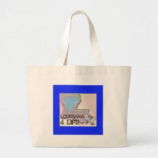 """Louisiana 4 Life"" State Map Pride Design Large Tote Bag"