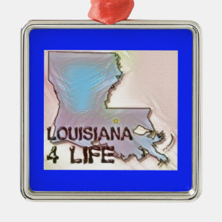 """Louisiana 4 Life"" State Map Pride Design Metal Ornament"