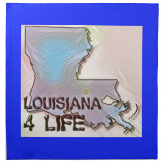 """Louisiana 4 Life"" State Map Pride Design Napkin"