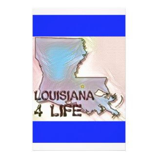"""Louisiana 4 Life"" State Map Pride Design Stationery"
