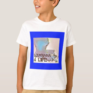 """Louisiana 4 Life"" State Map Pride Design T-Shirt"
