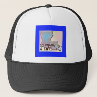 """Louisiana 4 Life"" State Map Pride Design Trucker Hat"