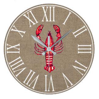 Louisiana Cajun Crawfish & Faux Burlap Large Clock