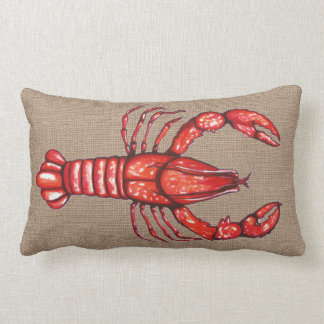 Louisiana Cajun Crayfish Faux Burlap Lumbar Cushion