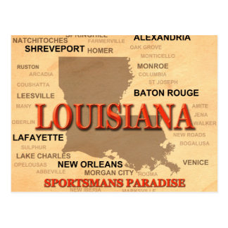 Louisiana City and Towns State Pride Map Postcard