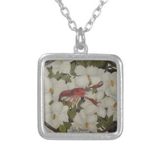 Louisiana crawfish and magnolia necklace