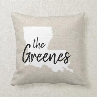 Louisiana Family Monogram State Throw Pillow