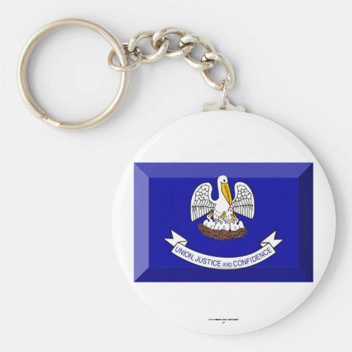 Louisiana Flag Gem Keychain