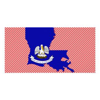 Louisiana Flag Map Personalized Photo Card