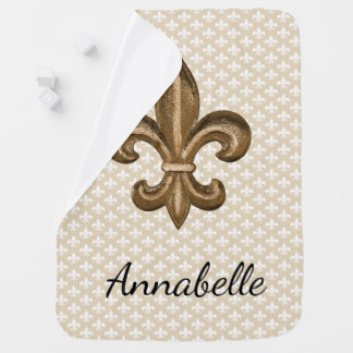 Louisiana French Gold Fleur De Lis & Baby's Name Baby Blanket