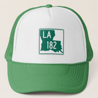Louisiana Green & White Highway 182 Trucker's Hat