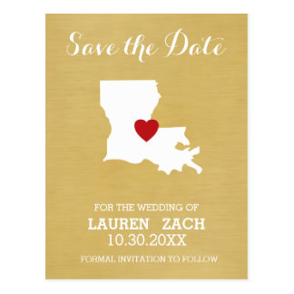 Louisiana Home State Map - Wedding Save the Date Postcard