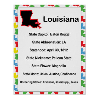 Louisiana Information Educational Poster