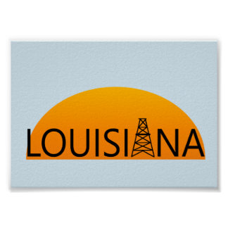 Louisiana Oil Field Sunset Poster Art