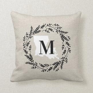 Louisiana Rustic Wreath Monogram Throw Pillow