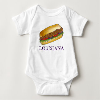Louisiana Shrimp Po'Boy New Orleans Sandwich Food Baby Bodysuit