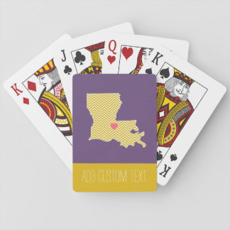 Louisiana State Map with Custom Heart and Name Playing Cards