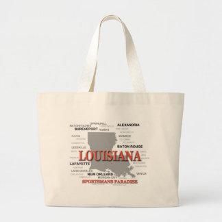 Louisiana State Pride Map Silhouette Tote Bags