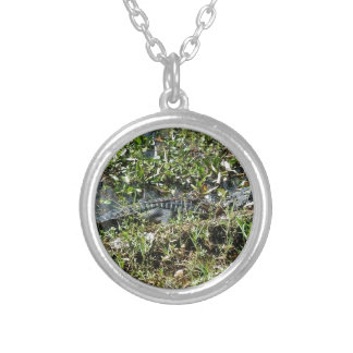 Louisiana Swamp Alligator in Jean Lafitte Close Up Silver Plated Necklace