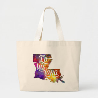 Louisiana U.S. State in watercolor text cut out Large Tote Bag