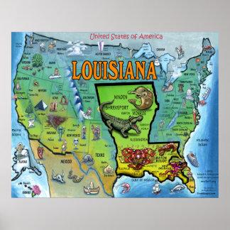 Louisiana USA Map Poster