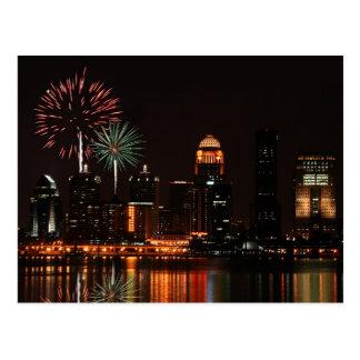Louisville fireworks postcard
